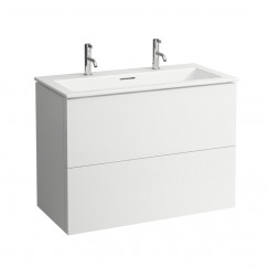 Laufen Kartell By Laufen meubelset 100x50 2 kraangaten pebble grey Pebble Grey H8603376411071