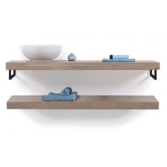 Looox Wood Collection wooden shelf 200cm old grey eiken hdh. mat zwart Eiken Old Grey WBDUO200MZ