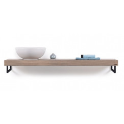 Looox Wood Collection wooden shelf 200cm eiken old grey hdh. mat zwart Eiken Old Grey WBSOLO200MZ