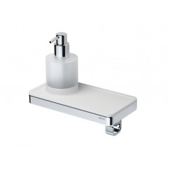 Geesa Frame zeepdispenser met wit planchet en haak chroom Chroom 918816-02
