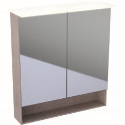 Geberit Acanto spiegelkast verlichting 2 deur 75cm eiken mystiek Eiken Mystiek 500.645.00.2