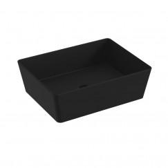 Novio Dacapo wastafel 50x38cm rechthoekig mat zwart Mat Zwart