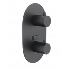 Novio Be Sure afdekset voor 2-weg inbouw thermostaat mat zwart Mat Zwart