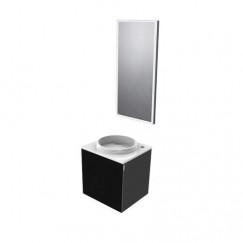 Emco Asis wastafel m/onderkast 45cm links+led spiegel zwart Zwart 958200006