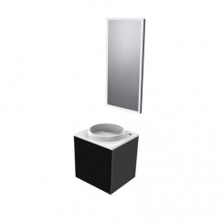 Emco Asis wastafel m/onderkast 45cm rechts+led spiegel zwart Zwart 958200007