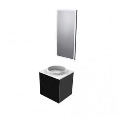 Emco Asis wastafel+onderkast 45cm li+led spiegel z/krg zwart Zwart 958200011