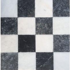 Dambord wit marmer en Turks hardsteen anticato 10x10x1
