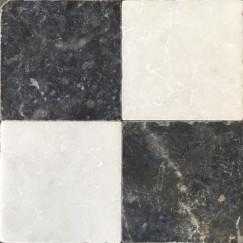 Dambord Wit Marmer en Turks Hardsteen Anticato 20x20x1