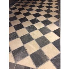 Dambord Vloer van Beige Marmer en Hardsteen 10x10x1